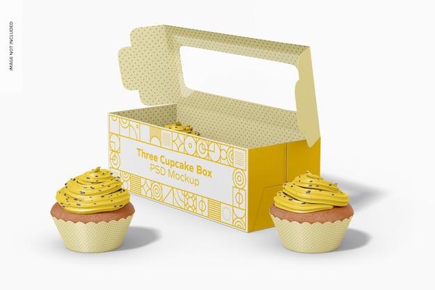 Мокап коробки с тремя кексами, вид справа