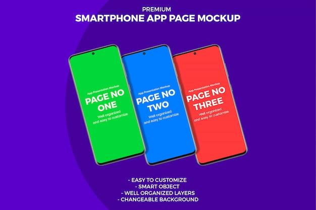3つの異なるパンチ穴表示スマートフォンアプリページのモックアップ