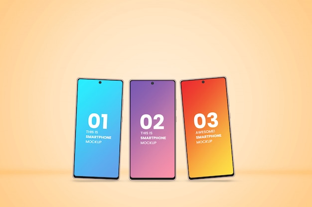 3つの異なるスマートフォンアプリページのモックアップ