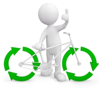 Three dimensional character with recycle bicycle