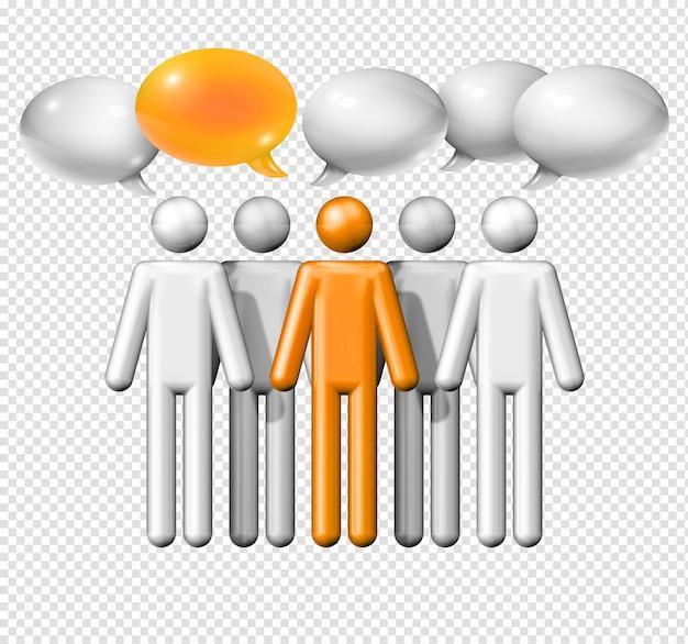 Трехмерная группа фигурок людей с изолированными речевыми пузырями
