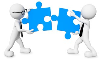 Three dimensional men with jigsaw pieces as teamwork.
