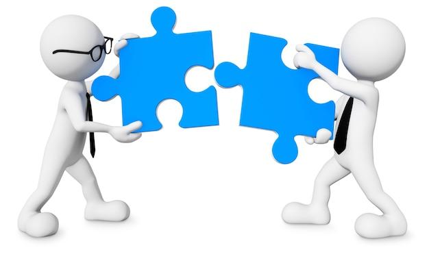 Трехмерные мужчины с кусочками головоломки как совместная работа.