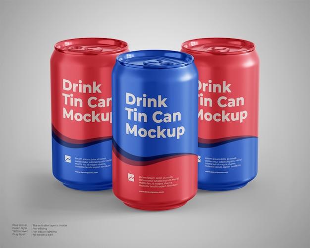 세 개의 음료수 깡통 모형