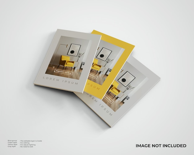 3 개의 편집 잡지 모형. 평면도