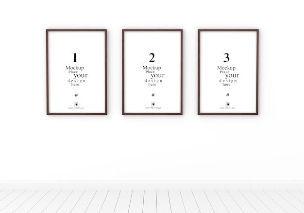 Three empty photo frame mockup in empty white room, template psd.