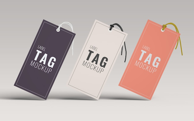 Three fashion label tag mockup front view