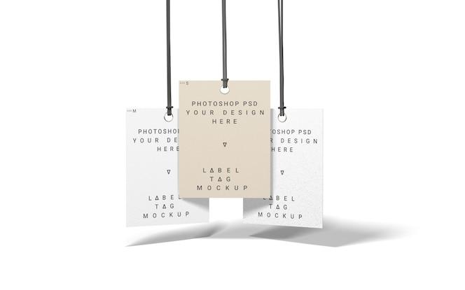 Three fashion mockup label tag top view