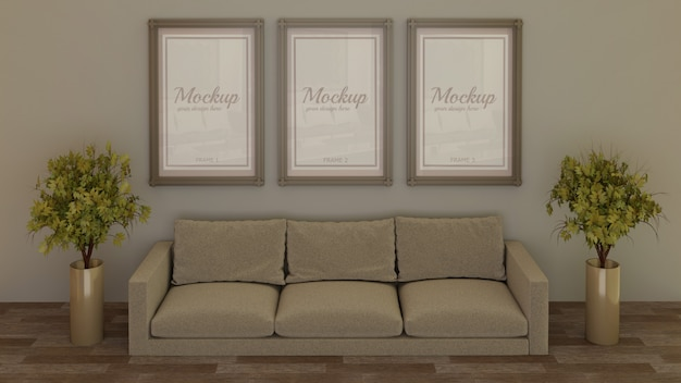 Three frame mockup on wall behind sofa in living room