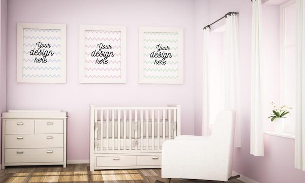 Three frames on baby girl room mock up