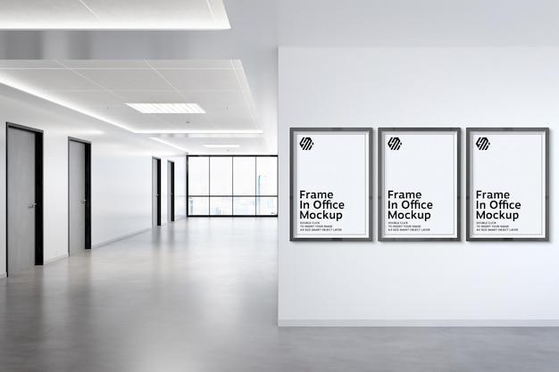 Three frames hanging on office wall mockup