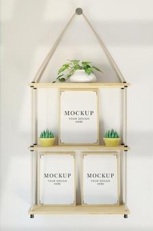 Three frames mockup in wall hanging rack