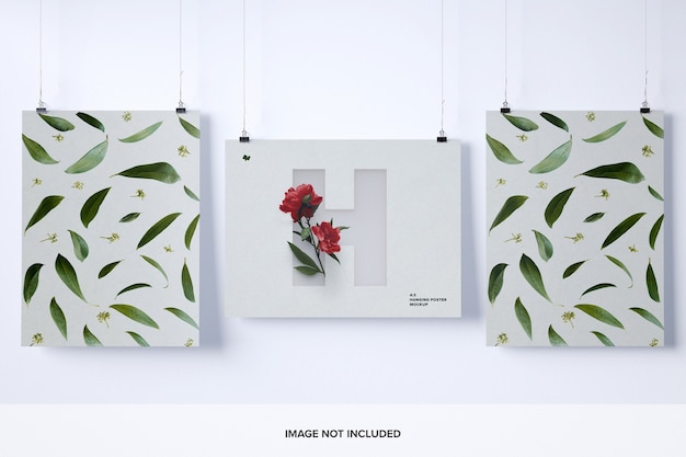 Three hanging posters mockup