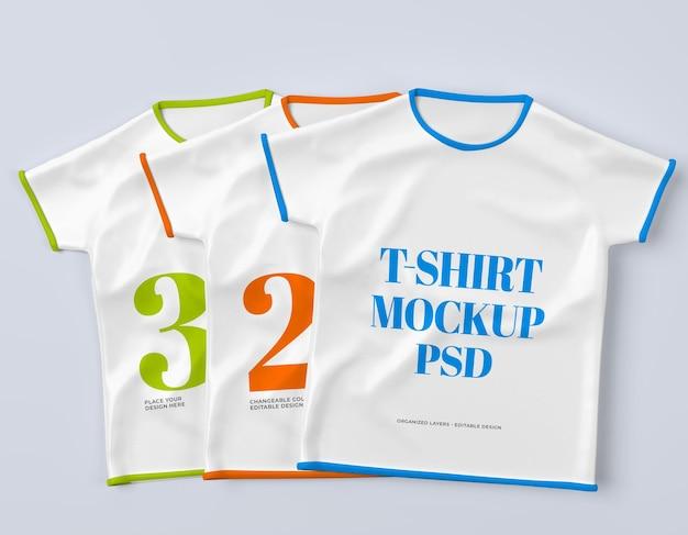 어린이 모형 Psd를 위한 3개의 격리된 티셔츠 프리미엄 PSD 파일