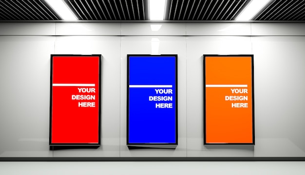 Three large banner mockup in station hall