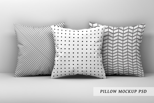 Of three large sleeping pillows on white background