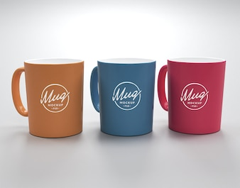 Three mugs mockup