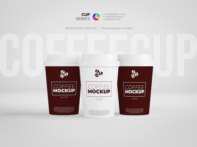Three paper cups mockup