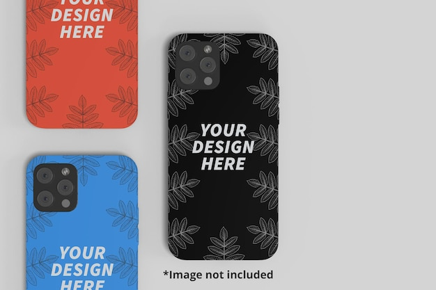 Three phone casing mockup from the top perspective