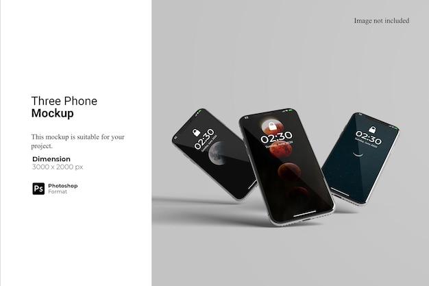 3つの電話のモックアップデザイン