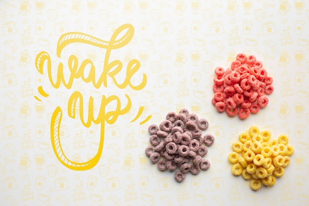 Three piile of cereals and wake up message