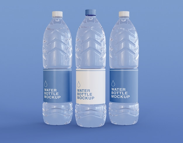 Three plastic water bottle mockup