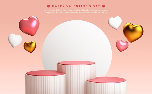 Three podiums and floating hearts in 3d rendering. valentines day scene