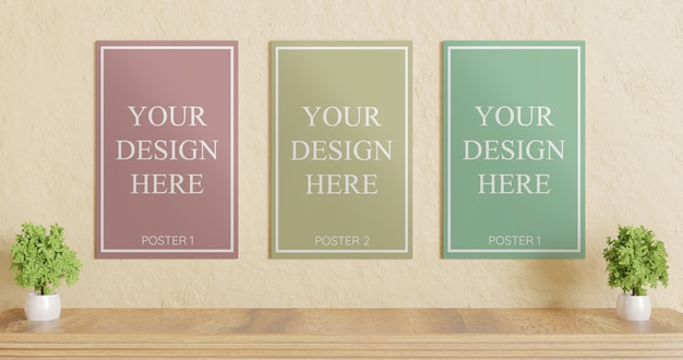 Three poster mockup on plaster wall