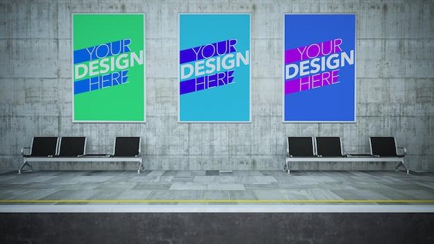 地下鉄の駅のモックアップに3つのポスター