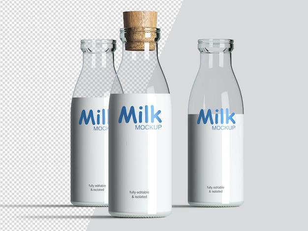 Три реалистичных с точки зрения молочных бутылок макета