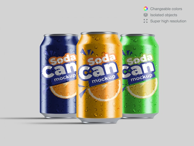 Three realistic front view aluminium soda cans with water drops mockup template