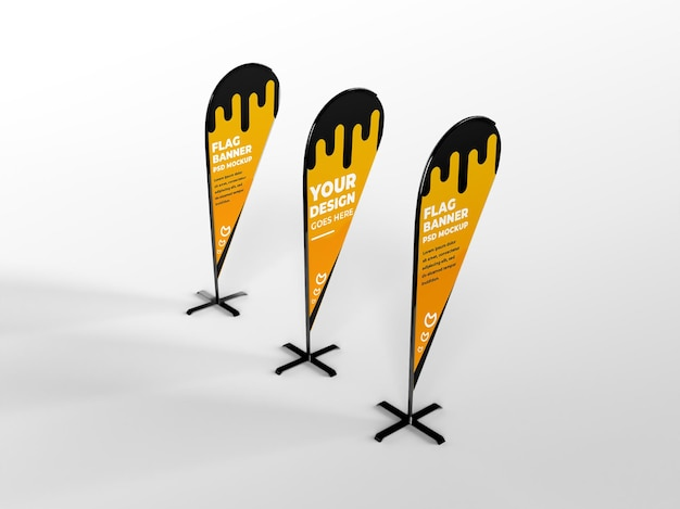 Three realistic rounded feather flag vertical banner advertising and branding campaign mockup