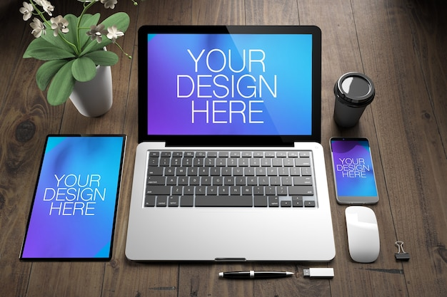 Three responsive devices mock up