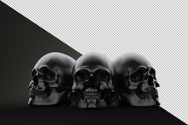 Three skull on the block still life render on black background