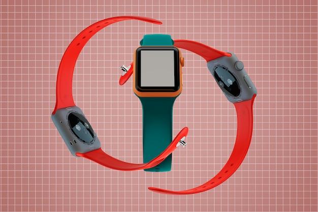 Three smart watches mockup