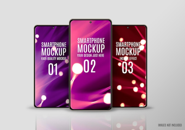 Three smartphone screens mockup