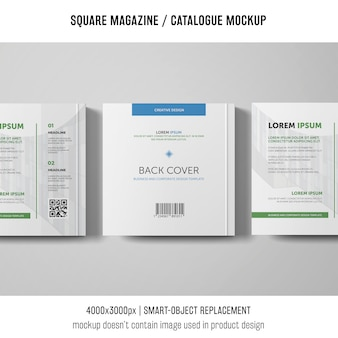 Three square magazine or catalogue mockups