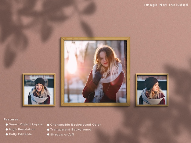 Three square wooden photo frame mockup hanging on wall background with shadow.