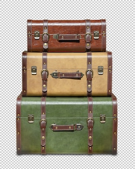 Three stacked vintage suitcases isolated