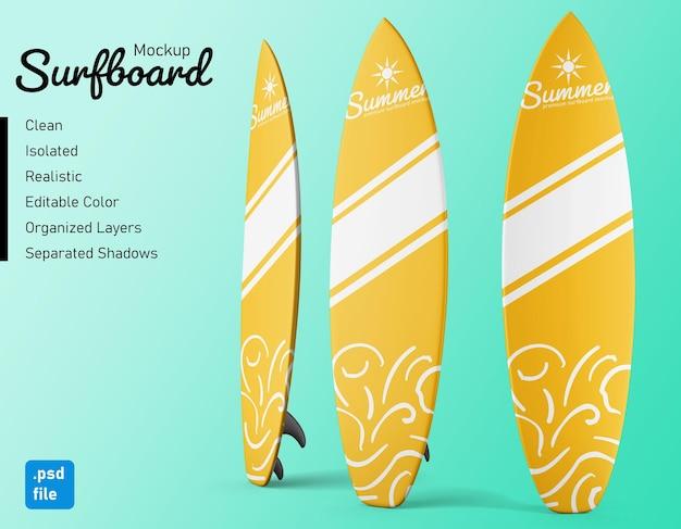 Three standing front view custom surfboard realistic mockup set