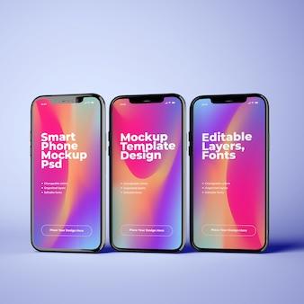 Три постоянных телефонных макета с редактируемым дизайном
