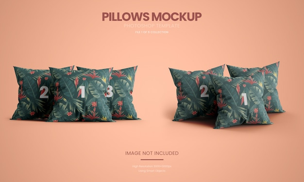 Three standing pillows mockup set