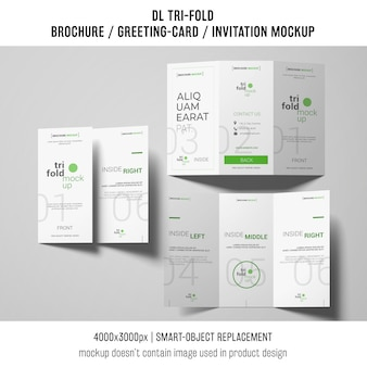 Three trifold brochure or invitation mockups