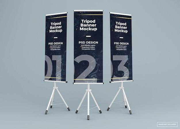 3 개의 삼각대 배너 스탠드 모형 프리미엄 PSD 파일