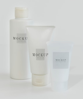 Three types of body care packaging mockups