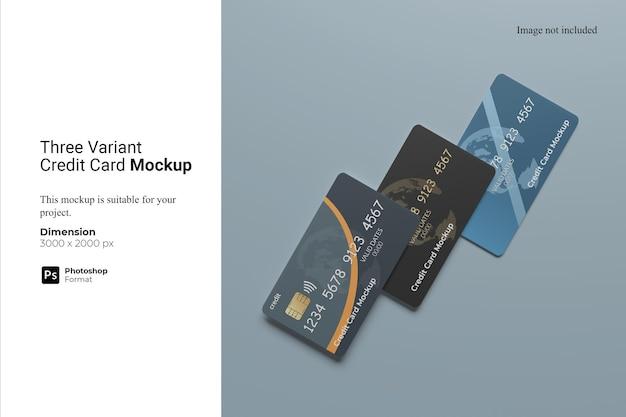 세 가지 변형 신용 카드 목업 디자인