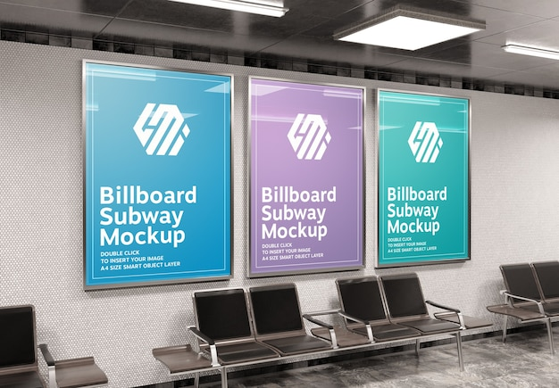 Three vertical a4 billboards in subway station mockup