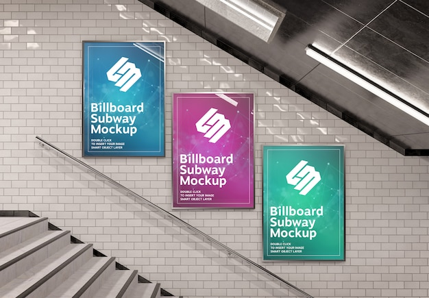 Three vertical billboard on underground stairs wall mockup