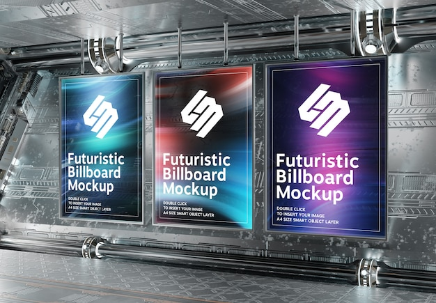 Three vertical billboards in futuristic underground mockup