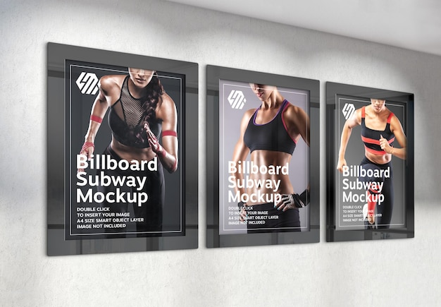 Three vertical billboards hanging on office wall mockup